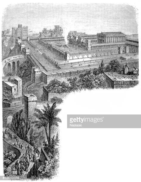 ancient jerusalem, showing the temple restored - jerusalem stock illustrations, clip art, cartoons, & icons