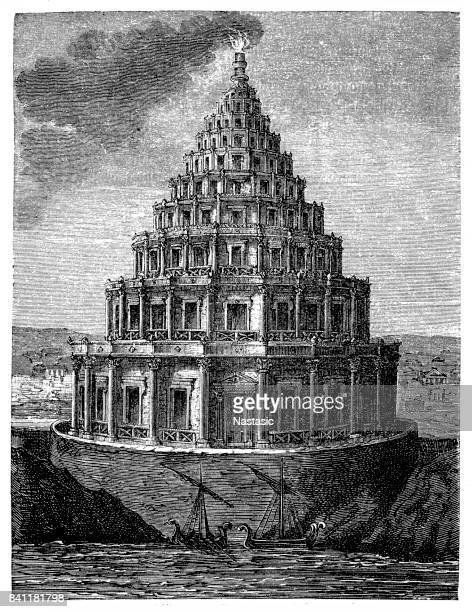 ancient lighthouse of alexandria - flare stack stock illustrations, clip art, cartoons, & icons