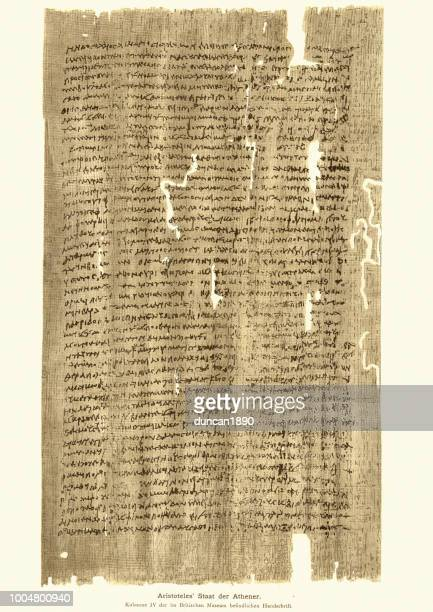 ancient manuscript from aristotele's state of the athenians - aristotle stock illustrations