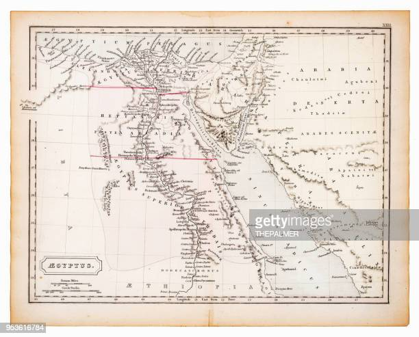 ancient map of egypt 1863 - ethiopia stock illustrations, clip art, cartoons, & icons