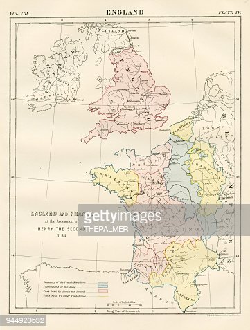 Ancient Map Of England And France 1881 Stock Illustration Getty Images