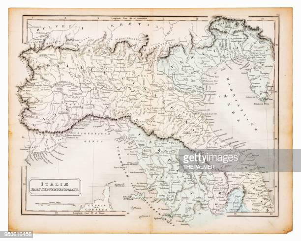 ancient map of italy 1863 - tuscany stock illustrations, clip art, cartoons, & icons