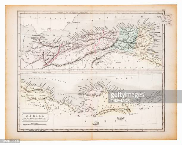 Ancient map of north Africa 1863