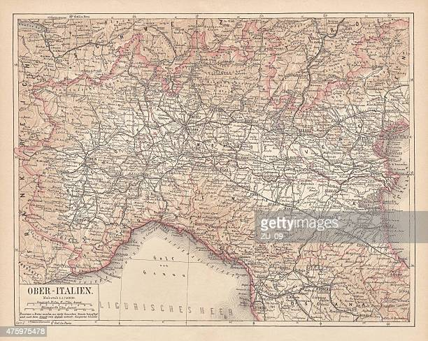 ancient map of northern italy, lithograph, published in 1876 - valle d'aosta stock illustrations, clip art, cartoons, & icons