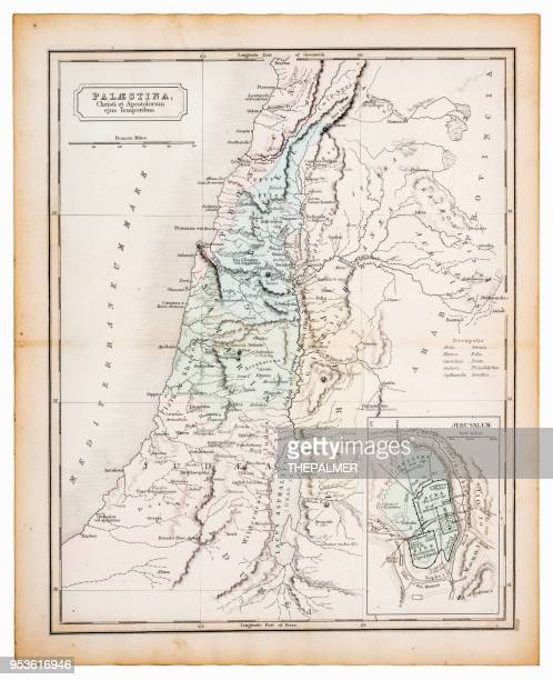Ancient map of Palestine 1863