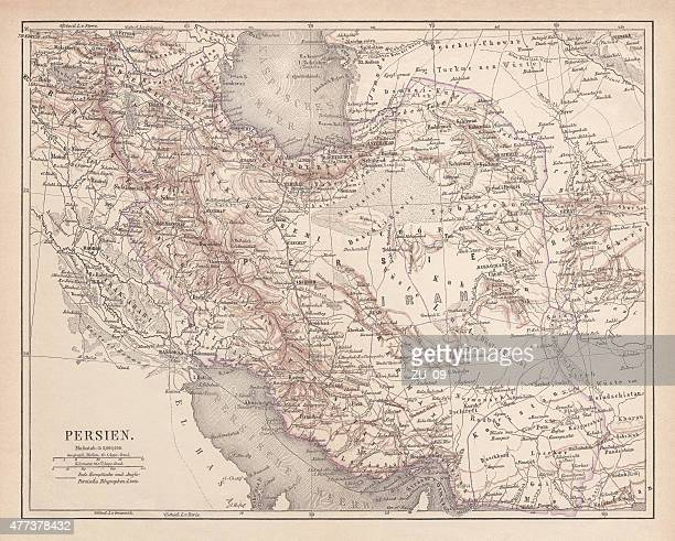 ancient map of persia, lithograph, published in 1877 - ninawa stock illustrations