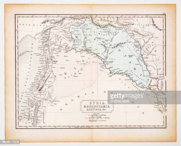 Ancient map of Syria and Mesopotamia 1863
