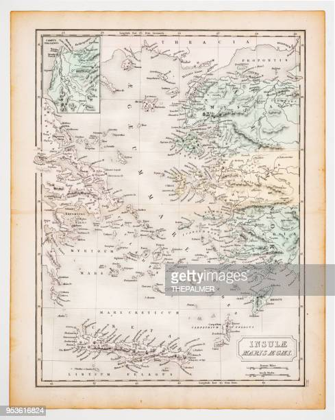 ancient map of the aegean islands 1863 - greek islands stock illustrations, clip art, cartoons, & icons
