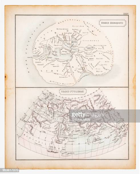 ancient map of the known world 1863 - herodotus stock illustrations