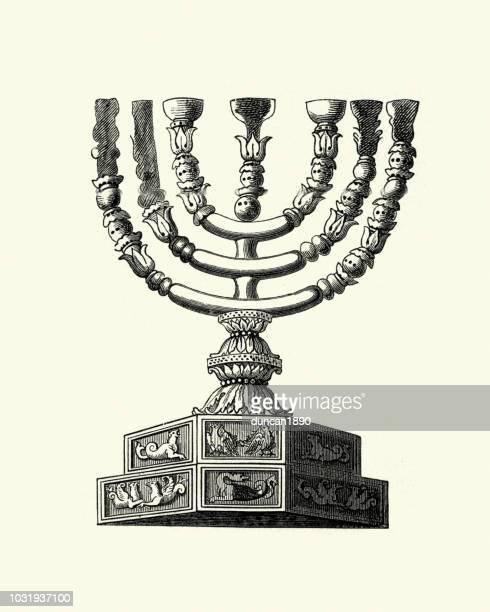 bildbanksillustrationer, clip art samt tecknat material och ikoner med antika menorah i templet - menorah