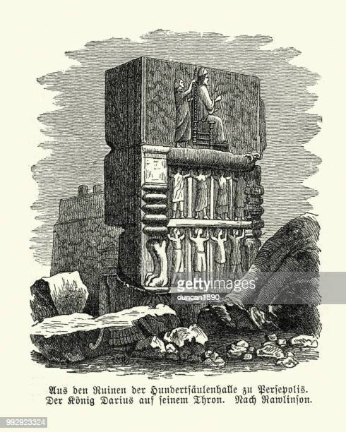 ancient monument at persepolis, palace of darius - bas relief stock illustrations