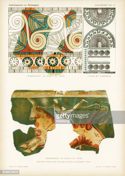ancient mycenaean frescos and frieze in tiryns - mycenae stock illustrations