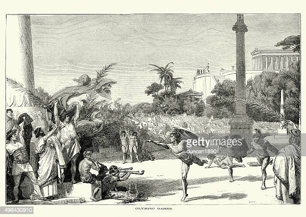 ancient olympic games - greece stock illustrations