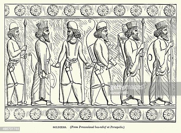 ancient persian soldiers - persian culture stock illustrations