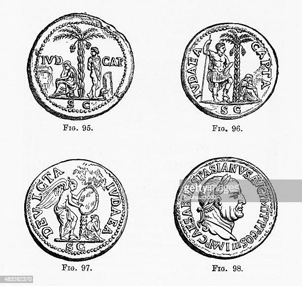 Ancient Roman and Greek Coins with Christian Symbolism Engraving