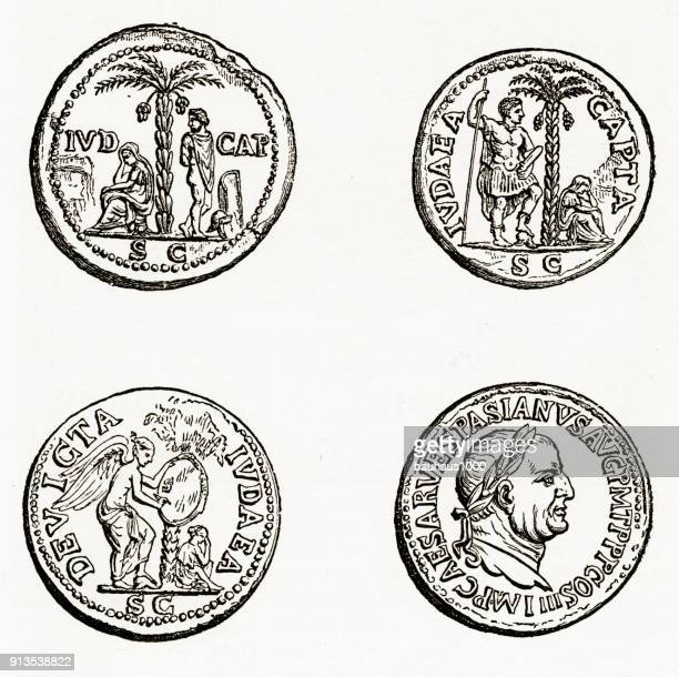 ancient roman and greek coins with christian symbolism engraving - relief carving stock illustrations