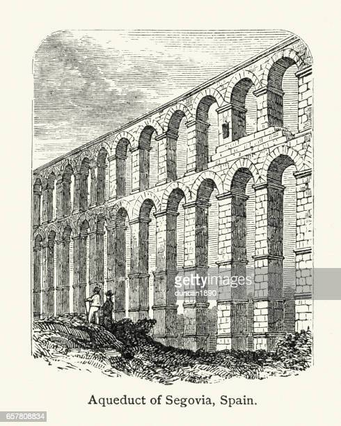 Ancient Roman Aqueduct of Segovia, Spain, 19th Century