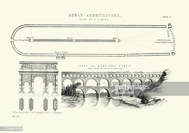 ancient roman architecture, circus, arch of constantine, pont du gard - arch architectural feature stock illustrations
