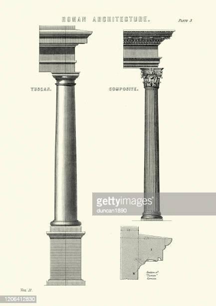 ilustrações, clipart, desenhos animados e ícones de arquitetura romana antiga, colunas, capitais, pedimentos, toscano e composto - pediment
