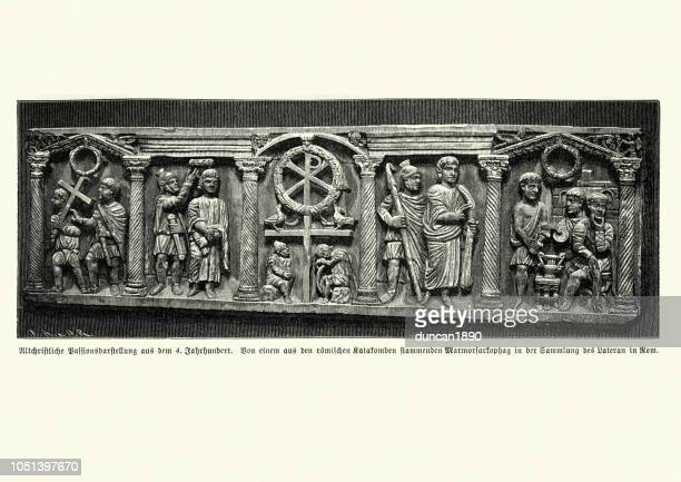ancient roman carving of the 4th century - bas relief stock illustrations
