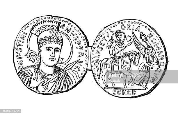 ancient roman coin showing emperor decius - emperor stock illustrations