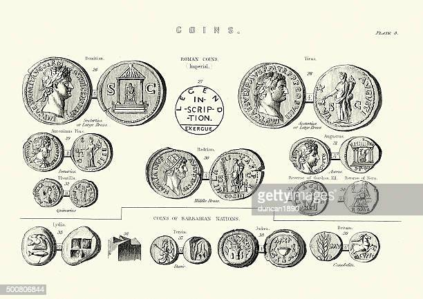 ancient roman coins - roman stock illustrations, clip art, cartoons, & icons