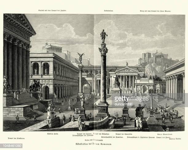 ancient roman forum - roman forum stock illustrations