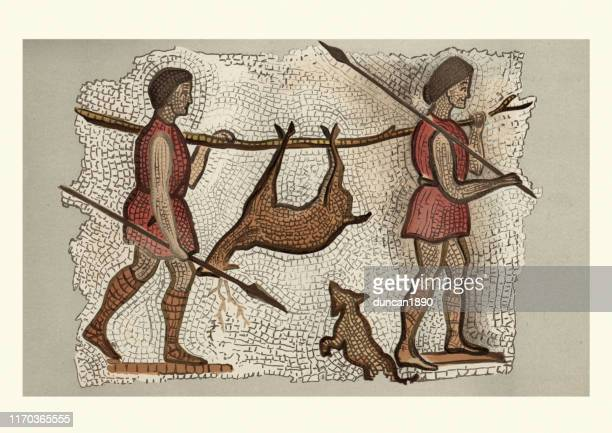 ancient roman mosaic, hunters returning with a deer - ancient stock illustrations