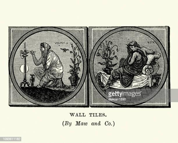 ancient roman mythology, vesper, nyx (nox) goddess of the night - venus roman goddess stock illustrations, clip art, cartoons, & icons