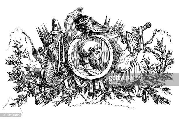 ancient roman soldier - army helmet stock illustrations