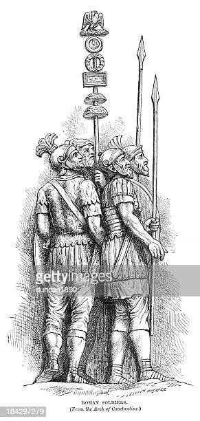 ancient roman soldiers - roman forum stock illustrations