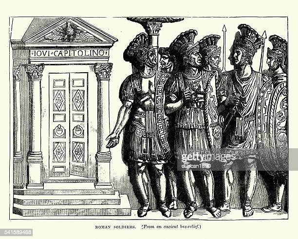 ancient roman soldiers - bas relief stock illustrations