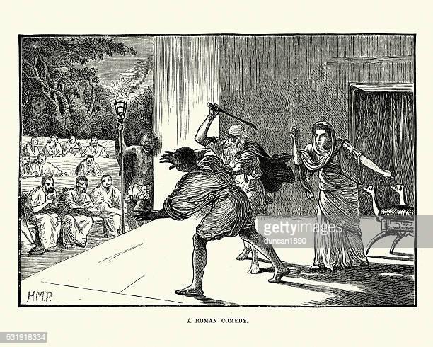 ancient roman theatre - actors performing a comedy - ancient rome stock illustrations, clip art, cartoons, & icons