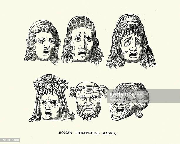 ancient roman theatrical masks - classical theater stock illustrations, clip art, cartoons, & icons