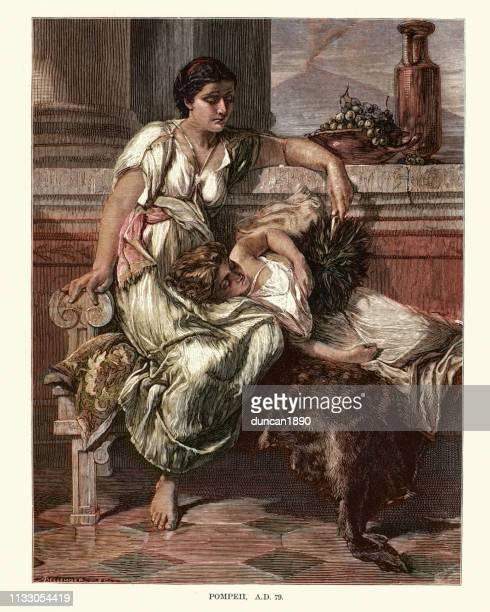 ancient roman women in pompeii in ad 79 - mt vesuvius stock illustrations, clip art, cartoons, & icons