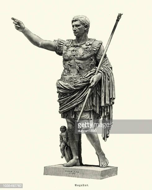 ancient rome, augustus of prima porta, roman emperor - emperor stock illustrations