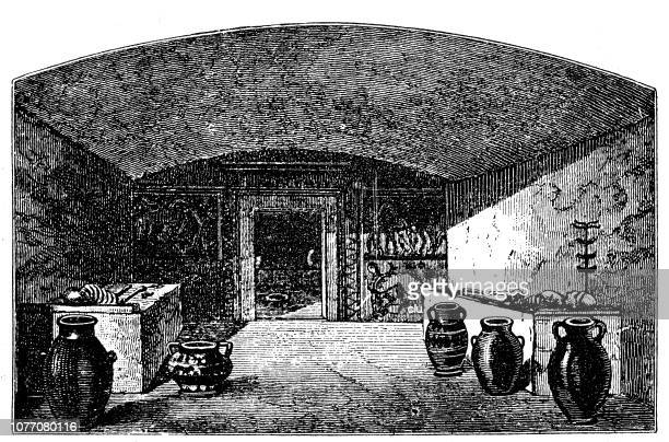 ancient rome, cave campana at veji - etruscan stock illustrations