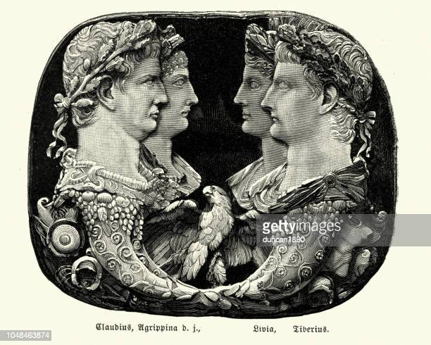 ancient rome, claudius, agrippina, livia and tiberius - bas relief stock illustrations