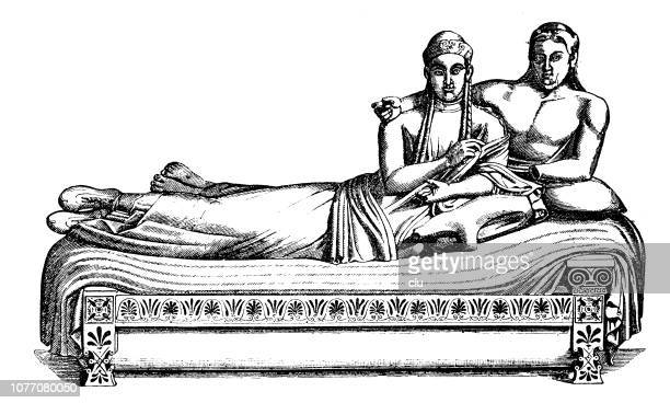 ancient rome, etruscan bed and couple - etruscan stock illustrations