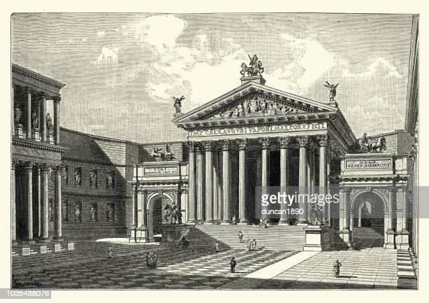 ilustrações, clipart, desenhos animados e ícones de roma antiga, o fórum de augusto, reconstruído - pediment