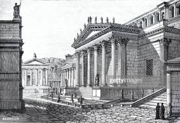 ancient rome: forum romanum - roman forum stock illustrations