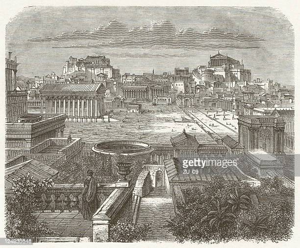 Ancient Rome, Forum Romanum, wood engraving, published in 1881
