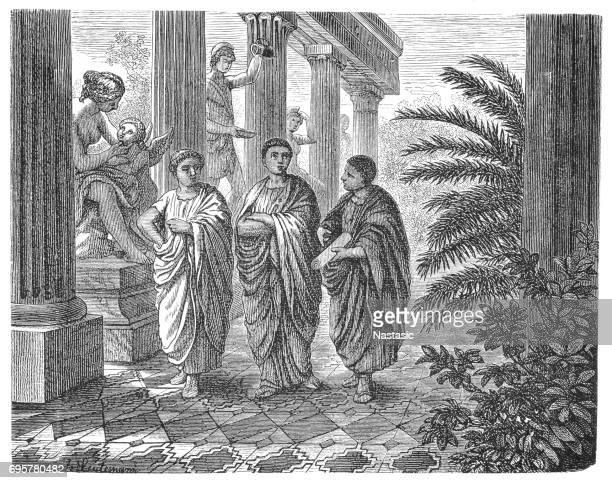 ancient rome - galenus (galien) - school medicine - aristotle stock illustrations
