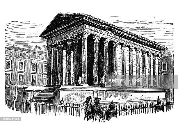 ancient rome, maison carrée in nimes - maison stock illustrations, clip art, cartoons, & icons