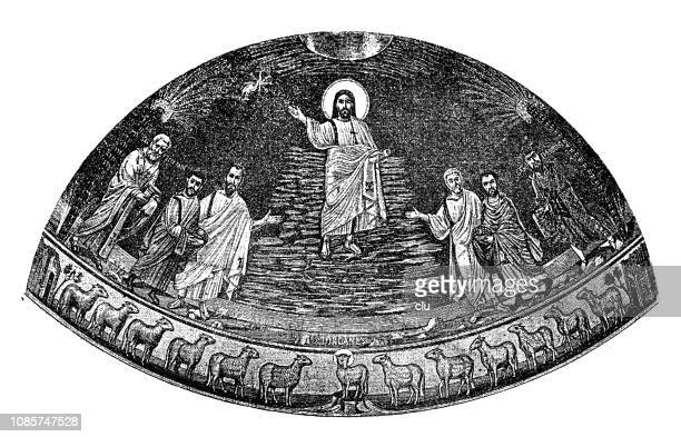 Ancient rome, Mosaic from Damiano, Jesus Christ