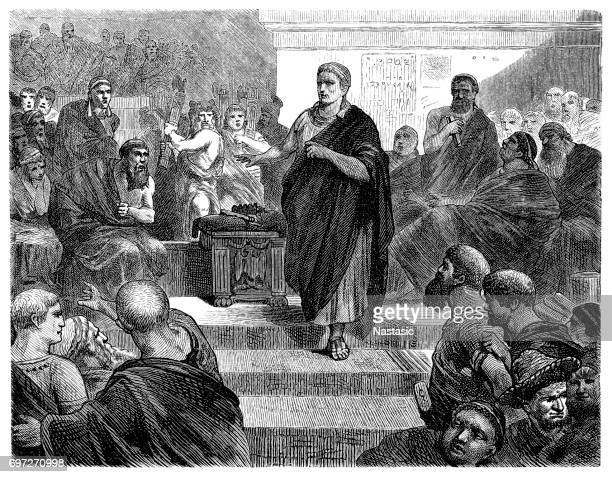 ancient rome : politic assembly - political rally stock illustrations, clip art, cartoons, & icons
