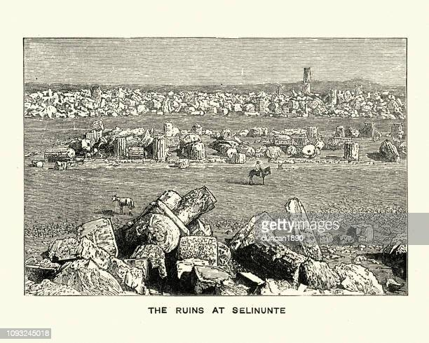 ancient ruins at selinunte, sicily, italy - selinunte stock illustrations