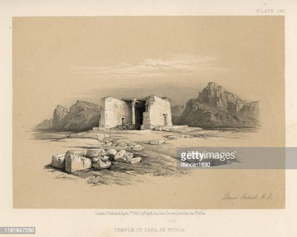 ancient ruins of the temple of taffeh in nubia, egypt - nubia stock illustrations, clip art, cartoons, & icons