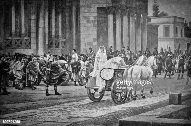 ancient scene shows the goddess's journey on a horse-drawn cart through an antique city - 1896 - 1896 stock illustrations, clip art, cartoons, & icons