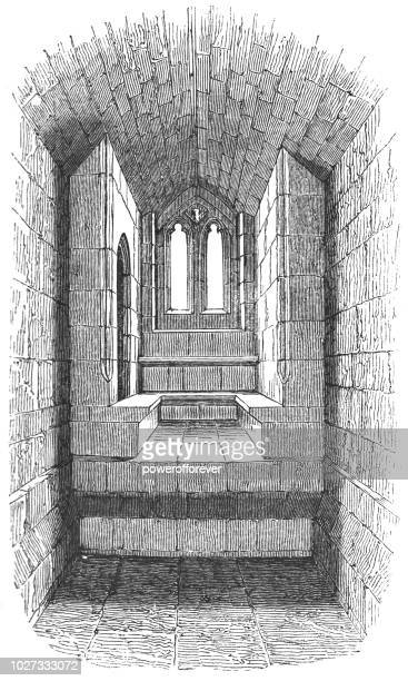 ancient seat of the percies at warkworth castle in northumberland, england - northumberland stock illustrations, clip art, cartoons, & icons